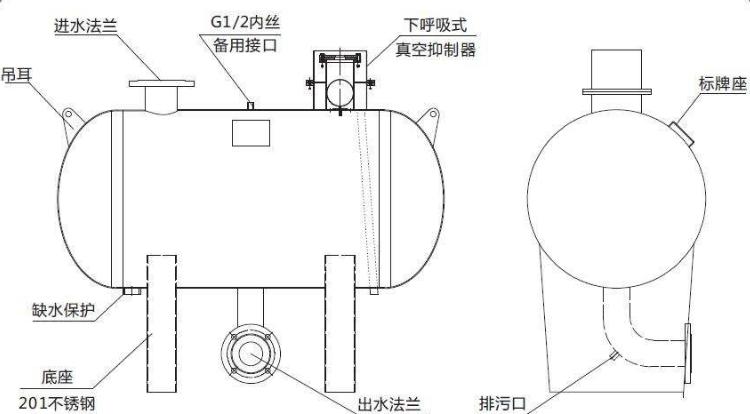 无负压供水设备稳流补偿器结构图-图2